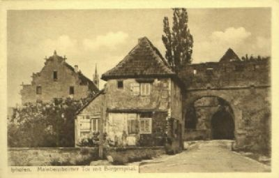 Mainbernheimer Gate and B�rgerspital - postcard view image. Click for full size.