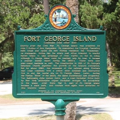 Fort George Island Marker, reverse side Photo, Click for full size