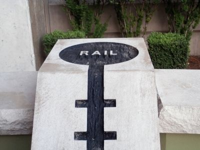 "Crossroads Plaza ""Rail"" Marker Photo, Click for full size"