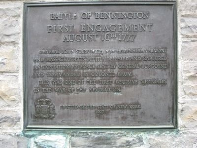 Battle of Bennington First Engagement Marker image. Click for full size.