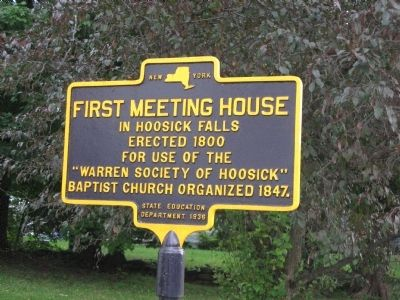 First Meeting House in Hoosic Falls Marker image. Click for full size.