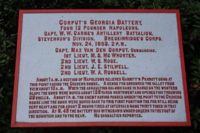 Corput's Georgia Battery Marker image. Click for full size.