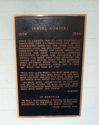 Samuel Gompers Marker Photo, Click for full size
