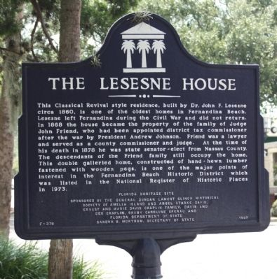 The Lesesne House Marker image. Click for full size.