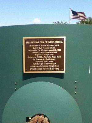 West Seneca Gatling Gun Plaque Photo, Click for full size