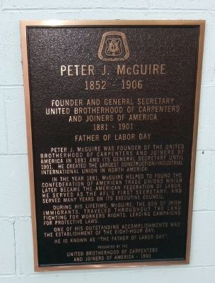 Peter J. McGuire Marker Photo, Click for full size