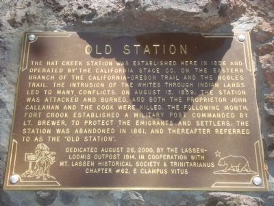 Old Station Marker Photo, Click for full size