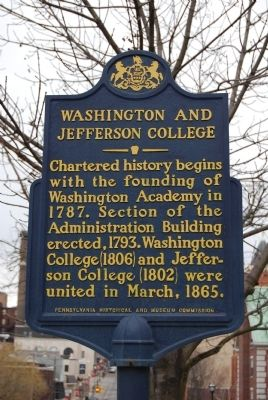 Washington and Jefferson College Marker image. Click for full size.