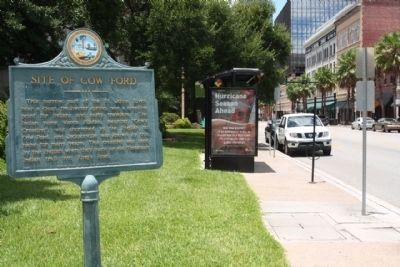 Site of Cow Ford Marker, along E Bay Street, looking west image. Click for full size.