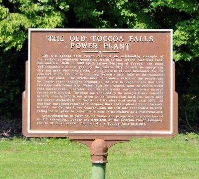 The Old Toccoa Falls Power Plant Marker image. Click for full size.