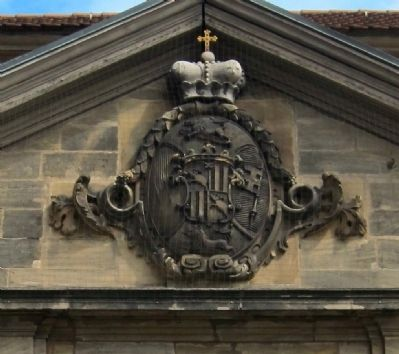 Coat of Arms of Prince Bishop Adam Friedrich von Seinsheim - Above main entrance image. Click for full size.