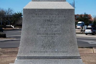 Centennial of Hattiesburg Monument<br>North Inscription image. Click for full size.