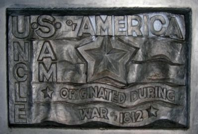 Uncle Sam Monument Marker - Base of Statue - Left image. Click for full size.