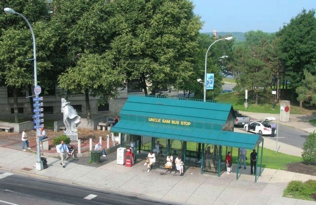 The Uncle Sam Bus Stop Beside the Uncle Sam Monument in Troy image. Click for full size.