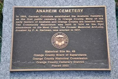 Anaheim Cemetery Marker image. Click for full size.