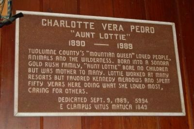 Lotty Pedro Plaque Mounted on the Wall Inside the Saloon image. Click for full size.