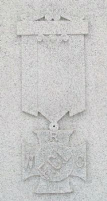 W.R.C. Emblem on Kearney Civil War and Spanish-American War Memorial Marker image. Click for full size.