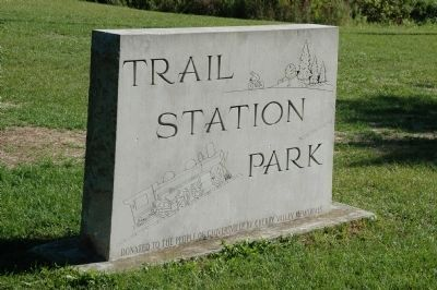 The FG&J RR Headquarters Marker is in Trail Station Park Photo, Click for full size