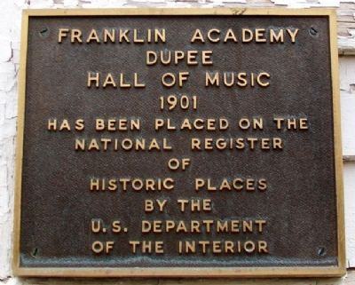 Dupee Hall of Music NRHP Marker image. Click for full size.