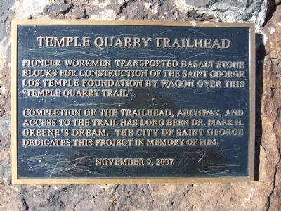 Temple Quarry Trailhead Marker Photo, Click for full size