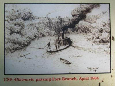 CSS <i>Albemarle</i> passing Fort Branch, April 1864 image. Click for full size.