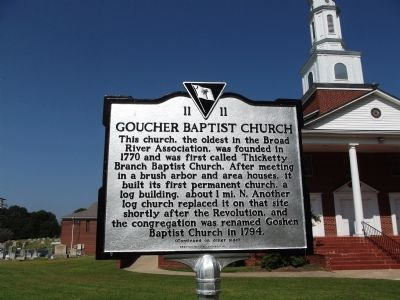 Goucher Baptist Church Marker image. Click for full size.