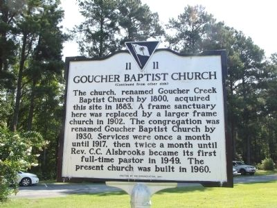 Goucher Baptist Church Marker Reverse image. Click for full size.