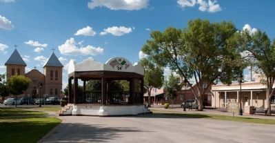 Mesilla Town Plaza Viewed From South, Showing Bandstand and Basilica of San Albino. Photo, Click for full size