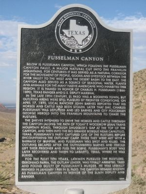 Fusselman Canyon Marker Photo, Click for full size