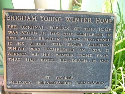 Brigham Young Winter Home Marker Photo, Click for full size