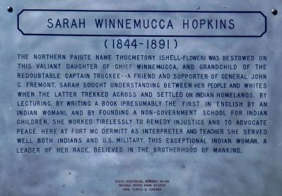 Sarah Winnemucca Hopkins Marker image. Click for full size.
