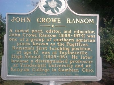 John Crowe Ransom Marker image. Click for full size.
