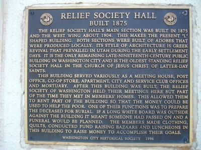 Relief Society Hall Marker Photo, Click for full size