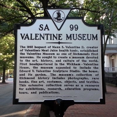 The Valentine Museum Marker image. Click for full size.