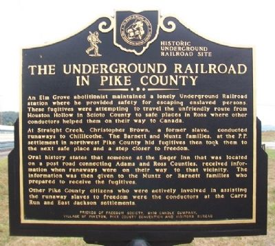 The Underground Railroad in Pike County Marker image. Click for full size.