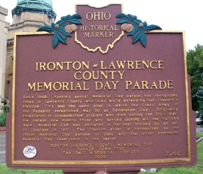 Ironton - Lawrence County Memorial Day Parade Marker image. Click for full size.