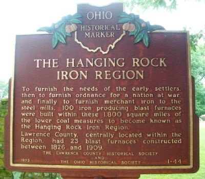 The Hanging Rock Iron Region Marker (front) image. Click for full size.