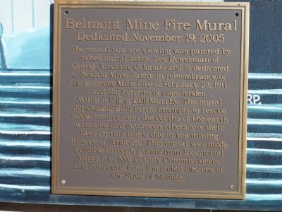 Belmont Mine Fire Marker remembering Big Bill Murphy image. Click for full size.