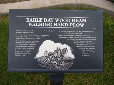Early Day Wood Beam Walking Hand Plow Marker image. Click for full size.