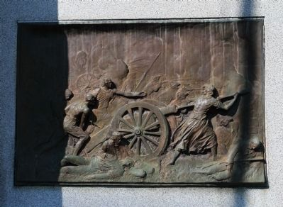 Bronze sculpture on the right side of the Molly Pitcher Grave. Photo, Click for full size