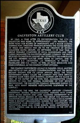 Galveston Artillery Club Marker image. Click for full size.