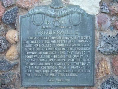 Toquerville Marker Photo, Click for full size