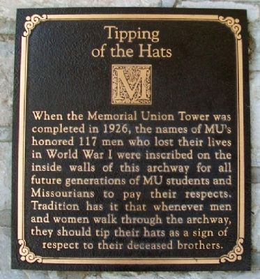Memorial Union Tower Tipping of the Hats Marker Photo, Click for full size