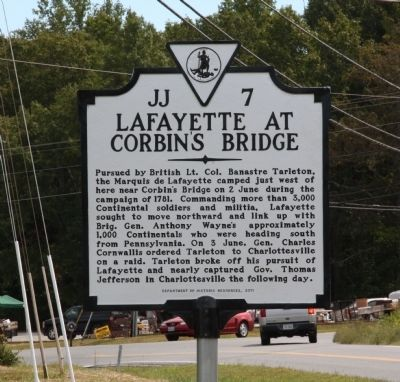 Lafayette at Corbin�s Bridge Marker image. Click for full size.
