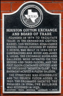 Houston Cotton Exchange and Board of Trade Marker image. Click for full size.