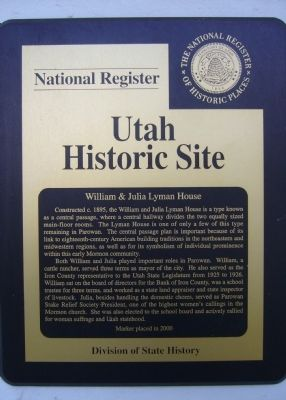 William and Julia Lyman House Marker image. Click for full size.