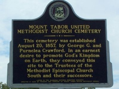 Mount Tabor United Methodist Church Cemetery Marker image. Click for full size.