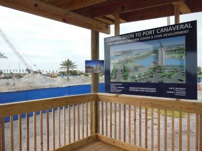Port Canaveral Welcome Center & Cove Development construction sign image. Click for full size.
