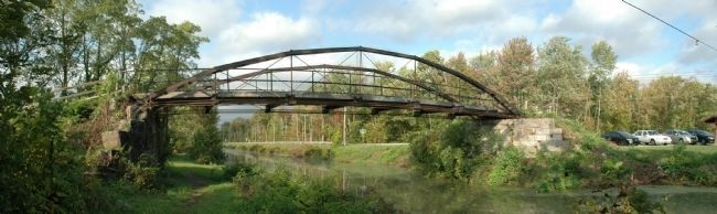 Whipple Iron Truss Bridge Spanning the Erie Canal, Vischer Ferry Preserve image. Click for full size.