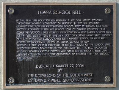 Loara School Bell Marker image. Click for full size.